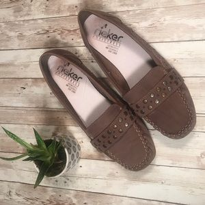 Rieker taupe studded anti-stress loafers size 9